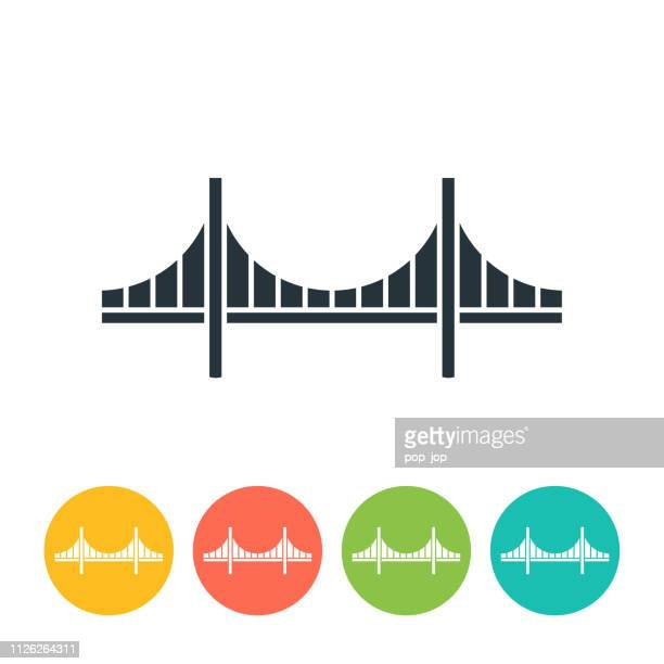 golden gate bridge flat icon - color illustration - golden gate bridge stock illustrations