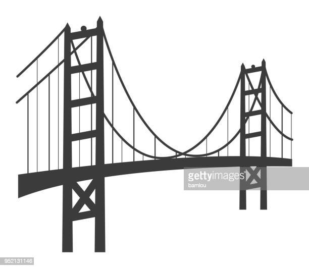 golden gate bridge icon - golden gate bridge stock illustrations