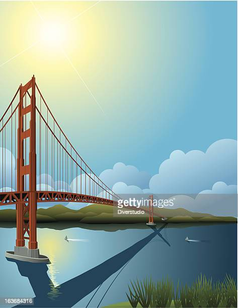 ilustraciones, imágenes clip art, dibujos animados e iconos de stock de puente golden gate - puente colgante