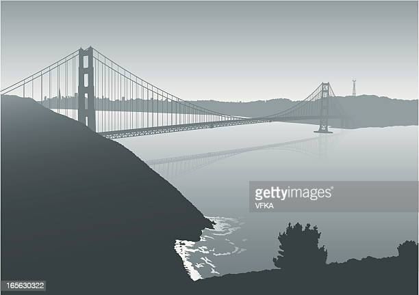 golden gate bridge - steel cable stock illustrations