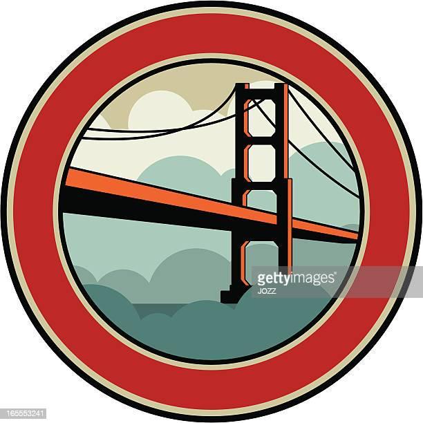 golden gate emblem - steel cable stock illustrations, clip art, cartoons, & icons