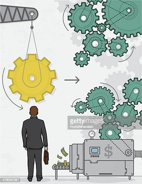Golden gear of businessman
