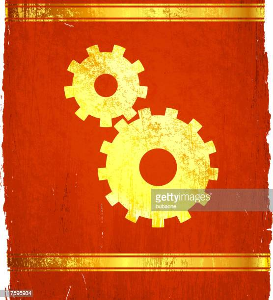 golden gears on royalty free vector background - wood stain stock illustrations, clip art, cartoons, & icons