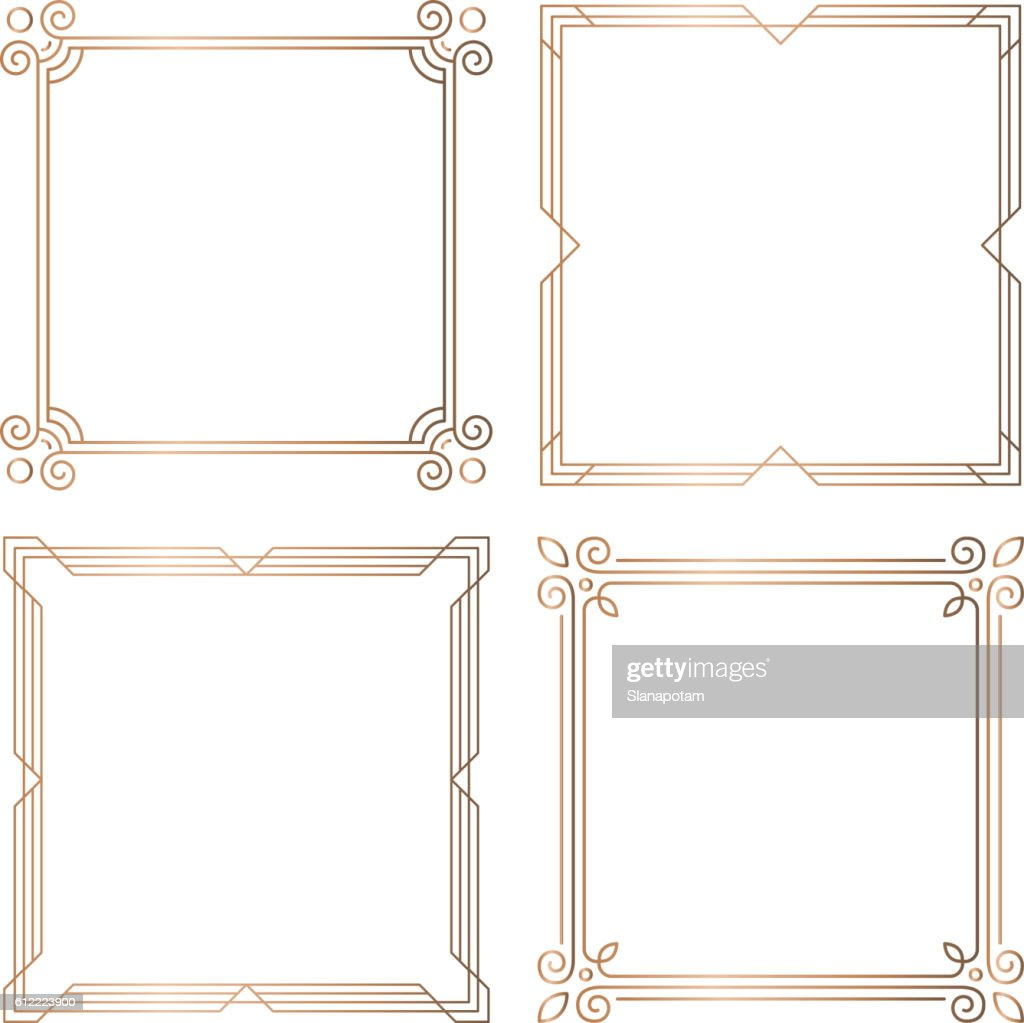 Golden geometric square frames, design elements