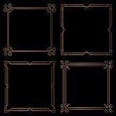 Golden geometric square frames, design elements