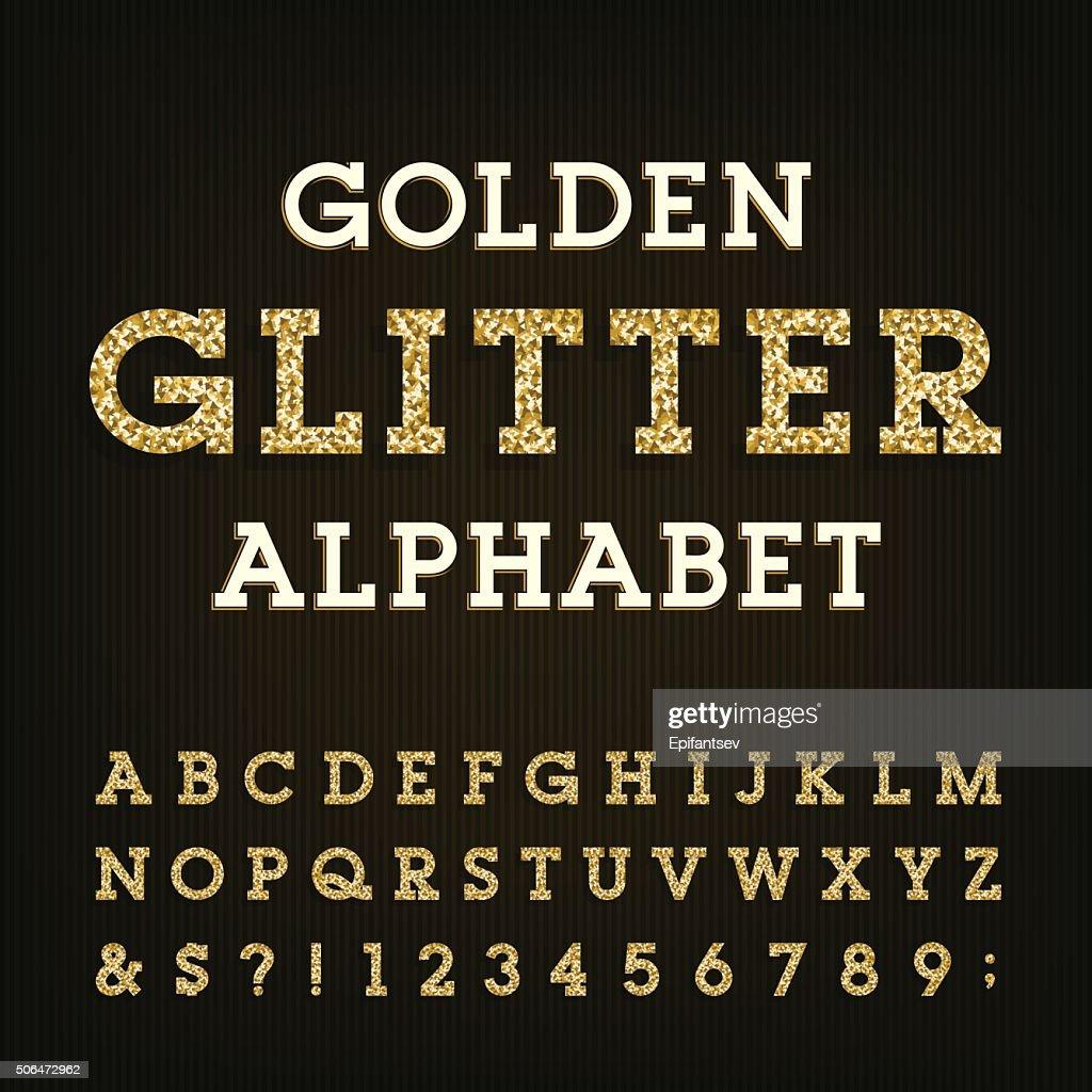 Golden glitter alphabet vector font.