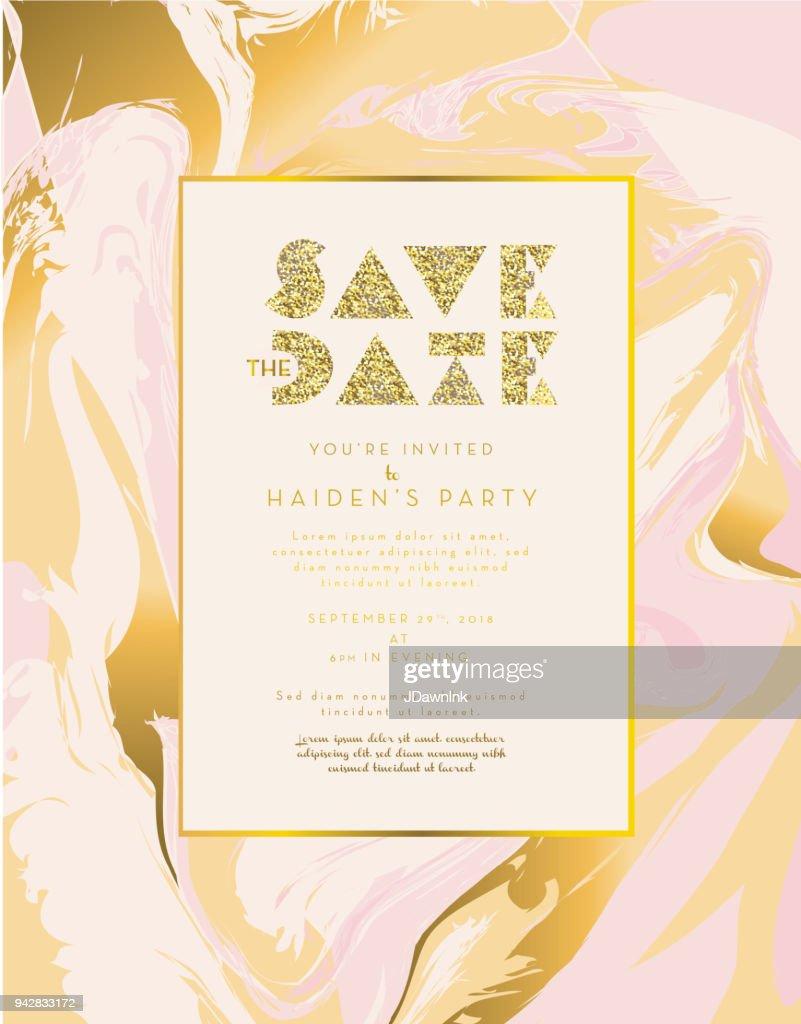 Golden Glitter And Marble Invitation Design Template