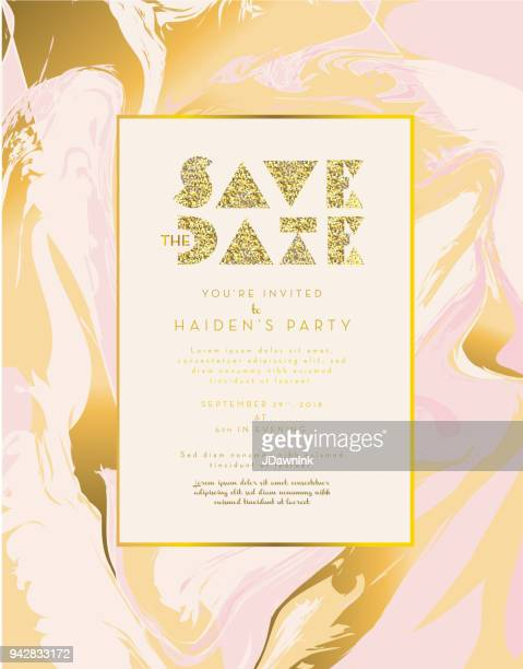 golden glitter and marble invitation design template background - marbled effect stock illustrations