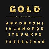 Golden glitter font on black background. Modern decorative alphabet for festive design. Glamour.