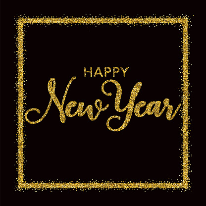 Golden Glitter Happy New Year Typography on Black - gettyimageskorea