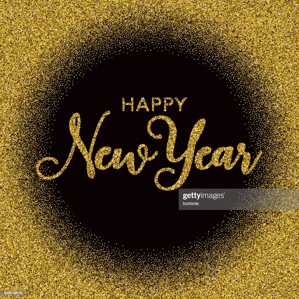 golden glitter happy new year typography on black vector art