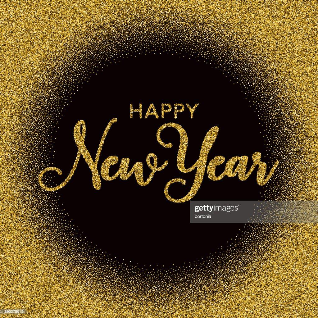 golden glitter happy new year typography on black vector art