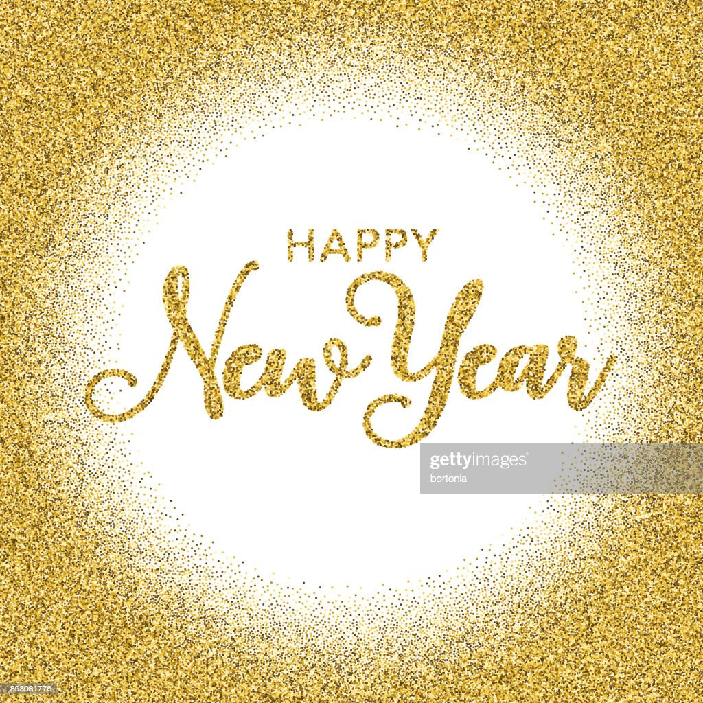 golden glitter happy new year typography on transparent background vector art