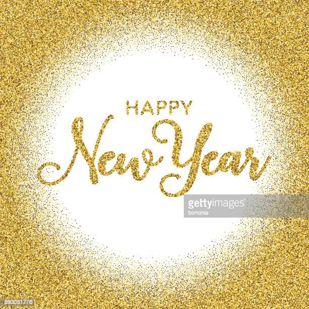 golden glitter happy new year typography on transparent background