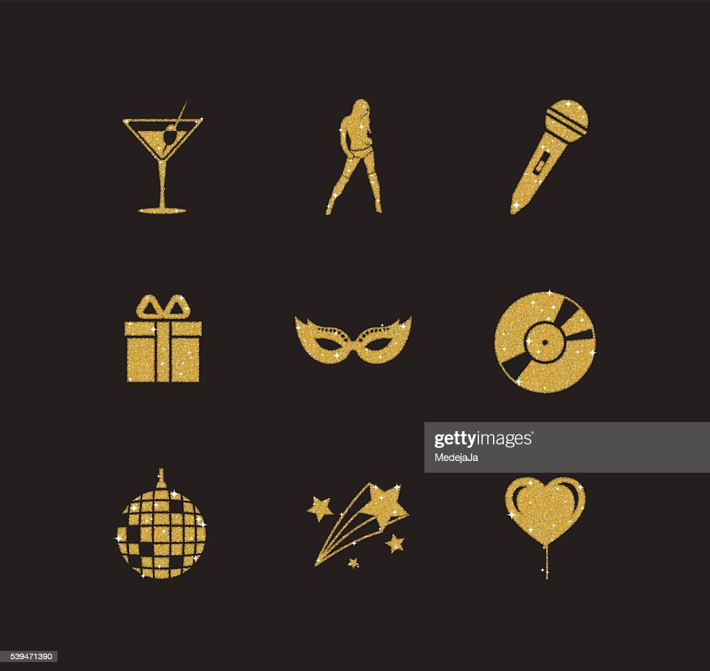 golden glitter night and party icons