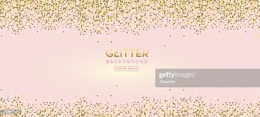 Golden Glitter on pastel pink design background