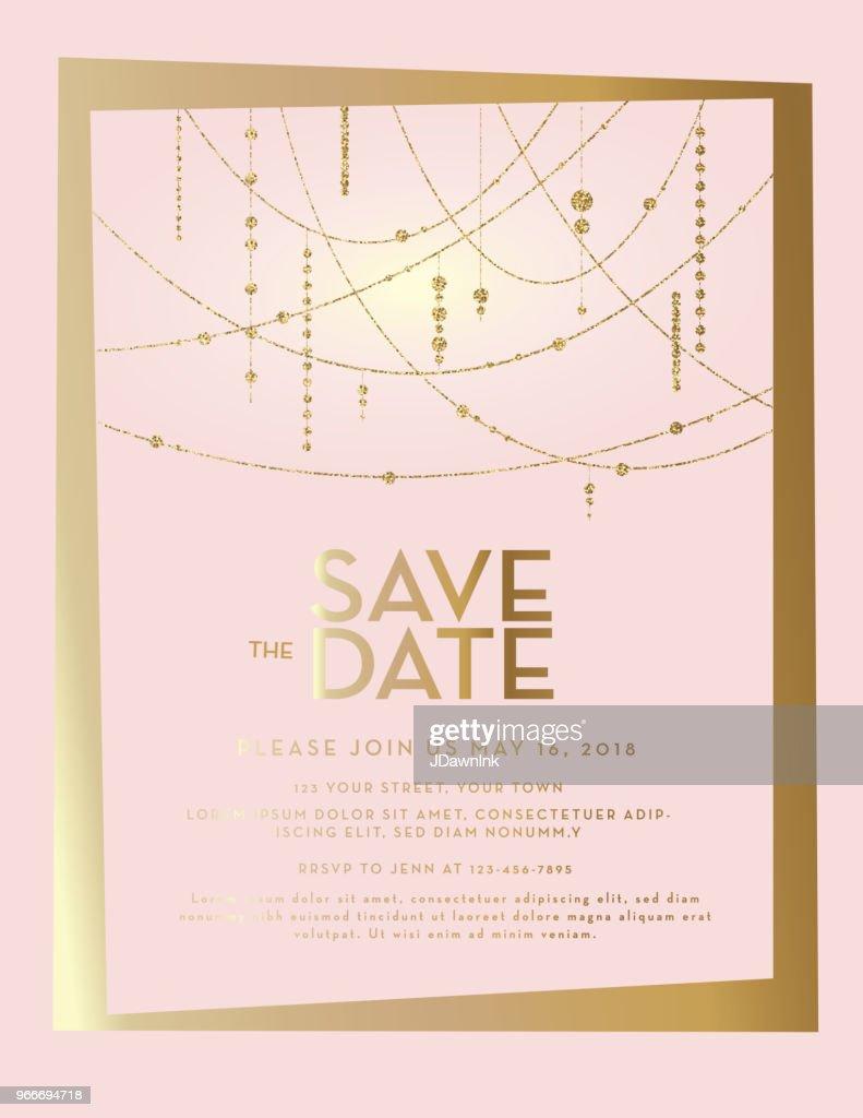 Golden Glitter Save The Date Pink Pastel Wedding Invitation Design Template Vector Art