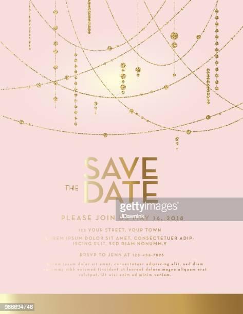 illustrazioni stock, clip art, cartoni animati e icone di tendenza di golden glitter salva il modello di design dell'invito al matrimonio pastello rosa data - rosa pallido