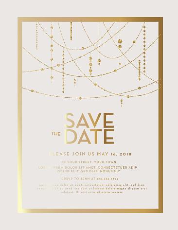 Golden Glitter Save the Date wedding invitation design template - gettyimageskorea