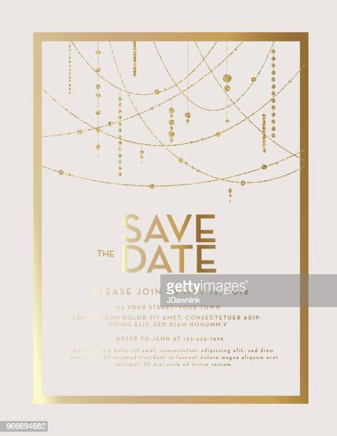 golden glitter save the date wedding invitation design template - gold coloured stock illustrations