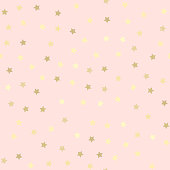 Golden glitter seamless pattern, pink background