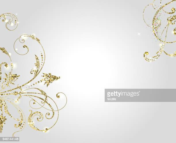 ilustraciones, imágenes clip art, dibujos animados e iconos de stock de oro brillo remolina en fondo claro para su diseño - glamour