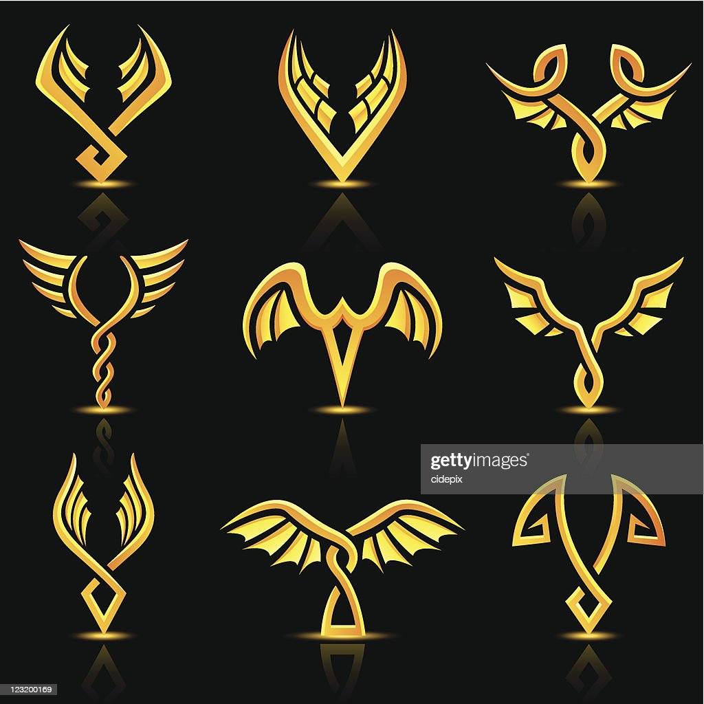 golden glossy abstract wings