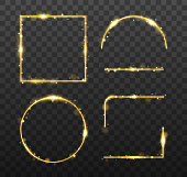 Golden glowing frames and elements with shiny sparks. Decorative element for banner or templates on transparent background. vector illustration