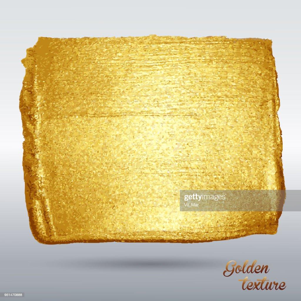 Golden grunge texture. Vector  brush stroke. A high resolution. A brilliant festive pattern. Light background.