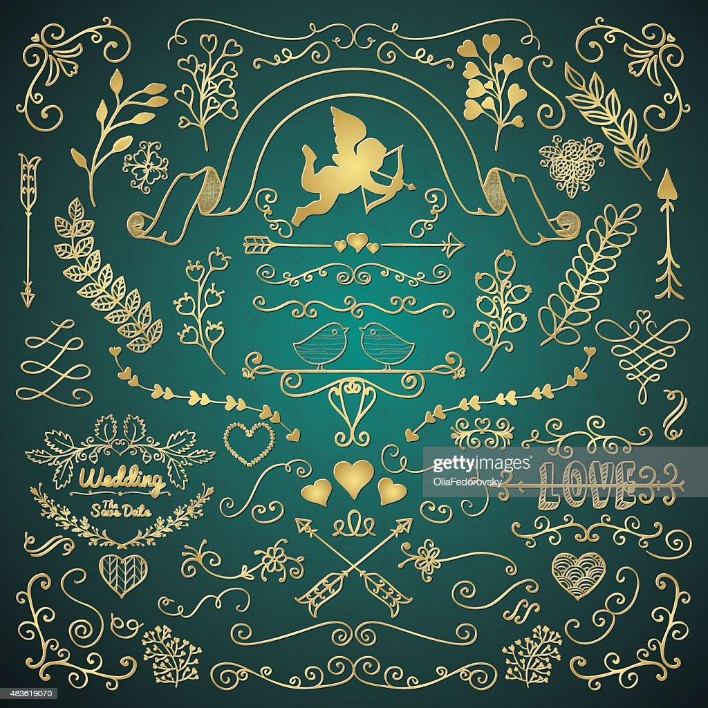 Golden Hand Sketched Rustic Floral Design Elements