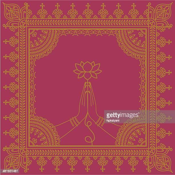 ilustraciones, imágenes clip art, dibujos animados e iconos de stock de golden manos con lotus - cultura hindú