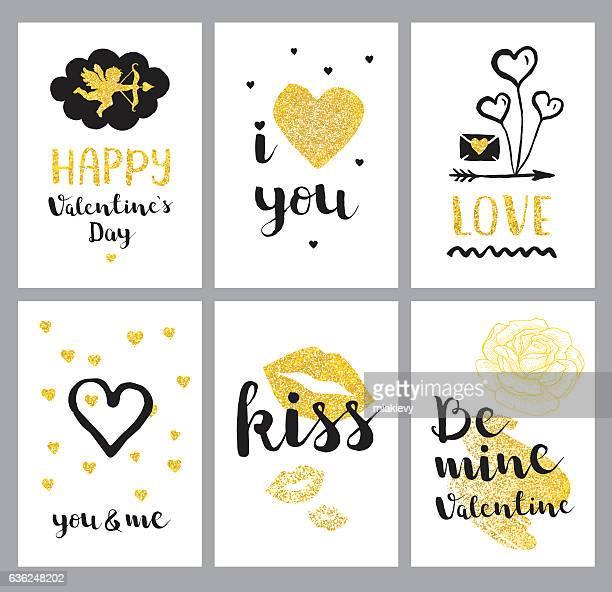 illustrations, cliparts, dessins animés et icônes de golden happy valentines day set - cupidon and saint valentin