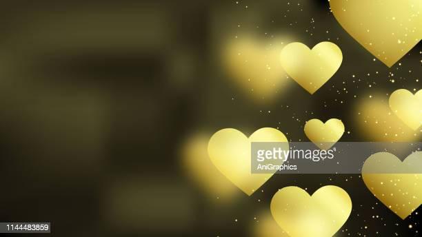 Golden Heart Bokeh Background