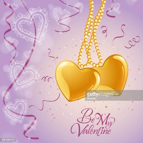 Golden Heart Jewellery in Be My Valentine Background