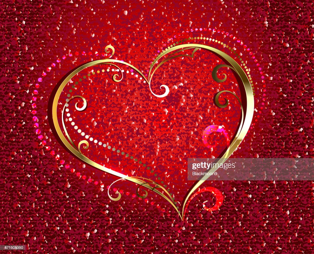 Golden heart on red background