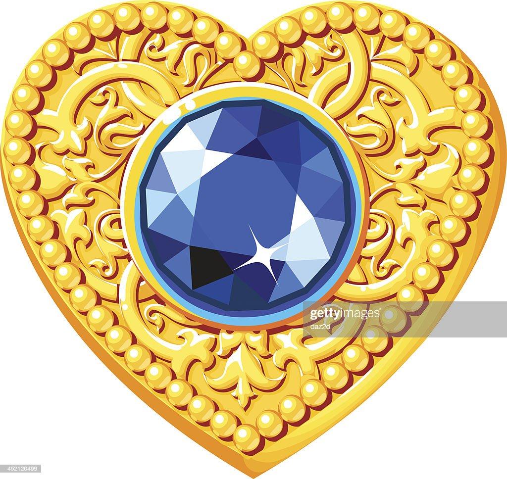 Golden Heart With A Blue Gem