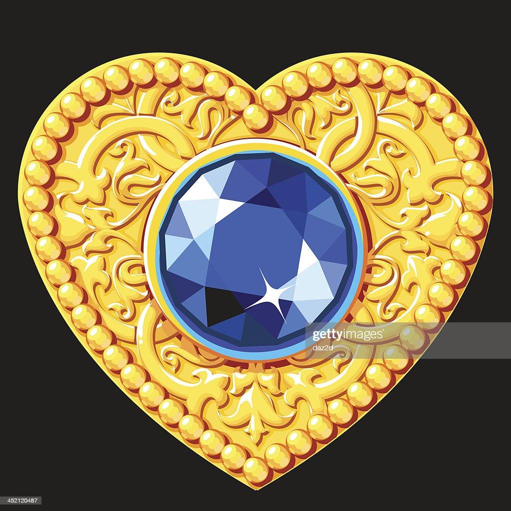 Golden Heart With A Blue Gemstone