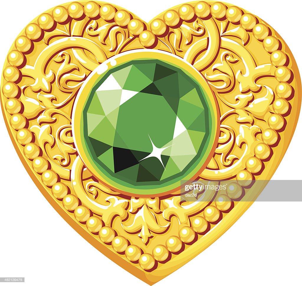 Golden Heart With A Green Gem