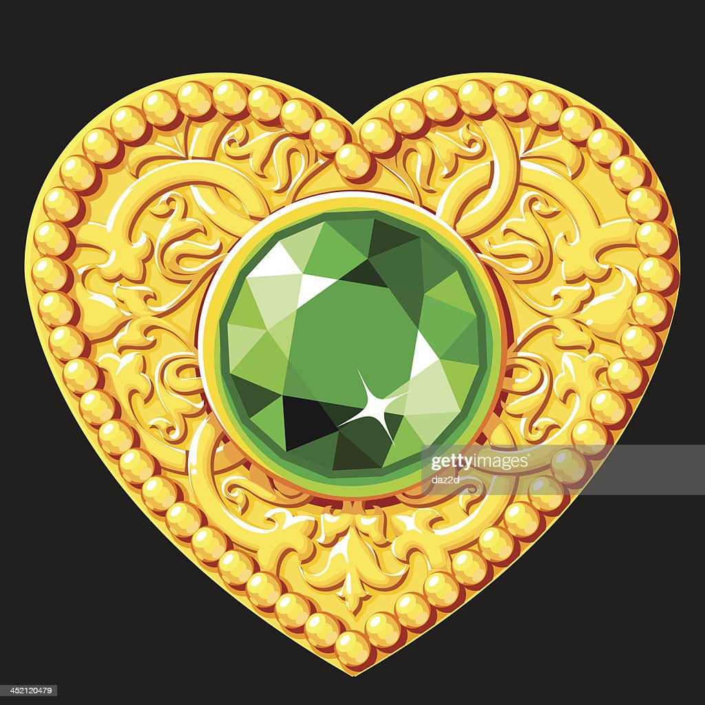 Golden Heart With A Green Gemstone