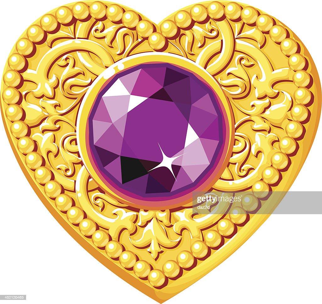 Golden Heart With A Purple Gem