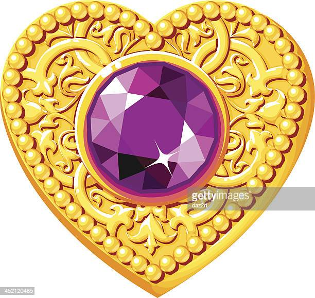 golden heart with a purple gem - bling bling stock illustrations, clip art, cartoons, & icons