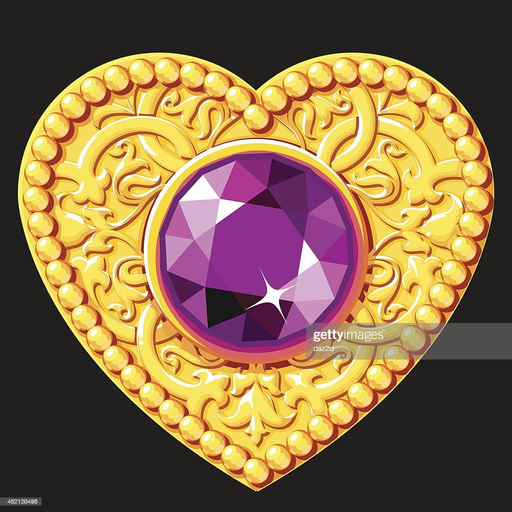Golden Heart With A Purple Gemstone