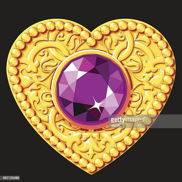 golden heart with a purple gemstone - bling bling stock illustrations, clip art, cartoons, & icons