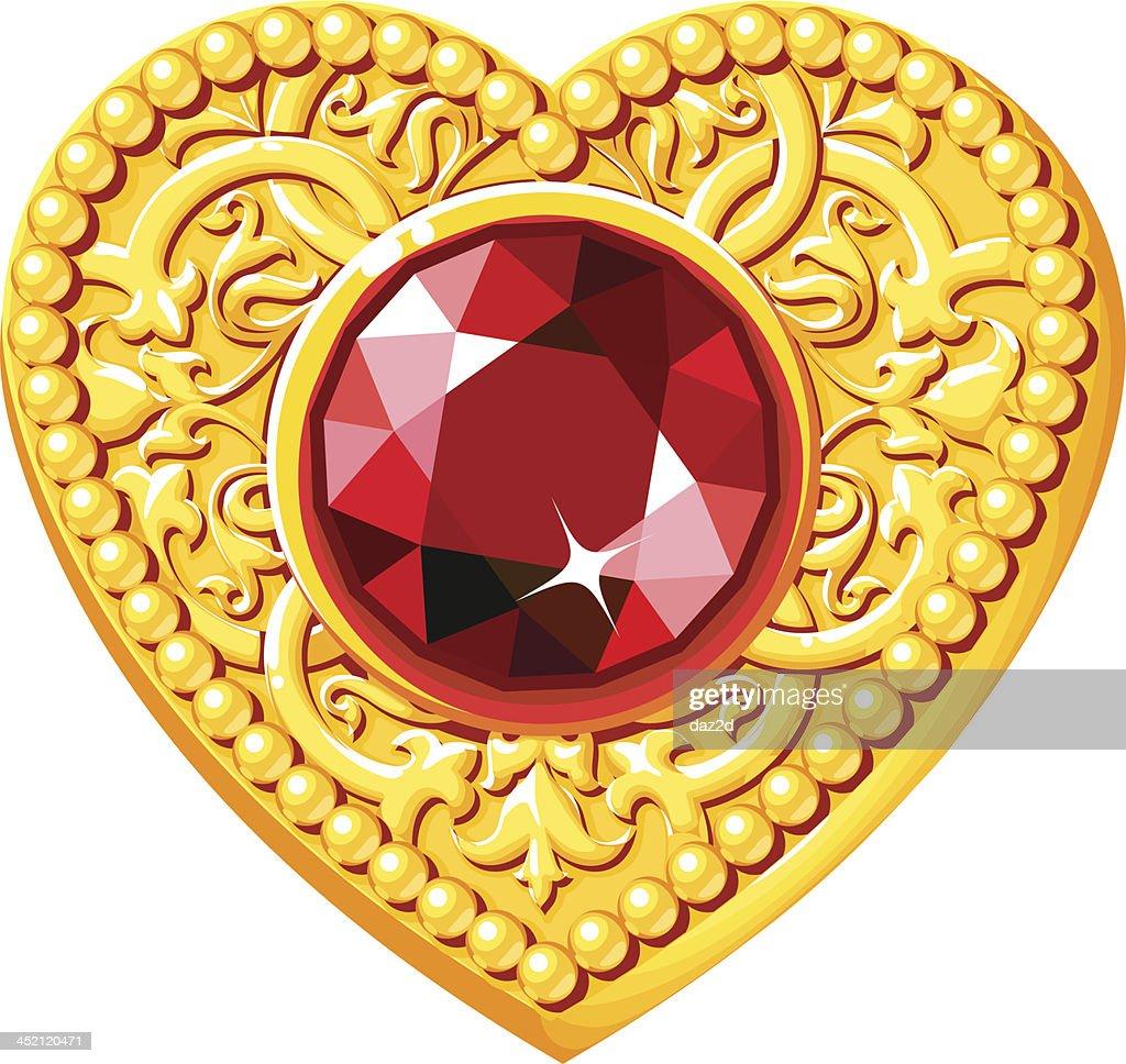 Golden Heart With A Red Gem