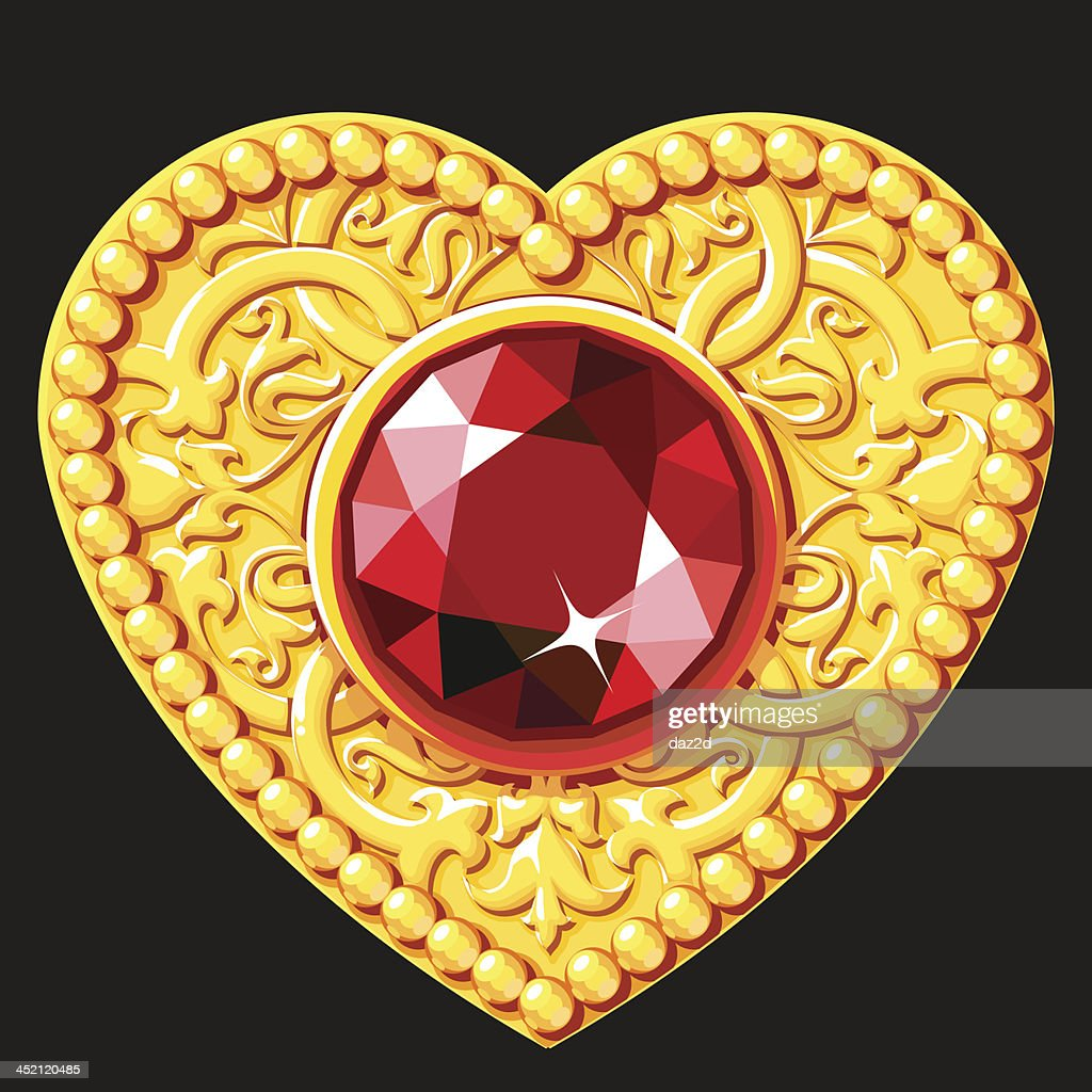 Golden Heart With A Red Gemstone