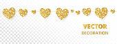 Golden hearts frame, seamless border. Vector glitter isolated on white background