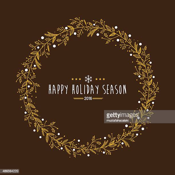 golden holiday wreath with holiday wishes - laurel wreath stock illustrations