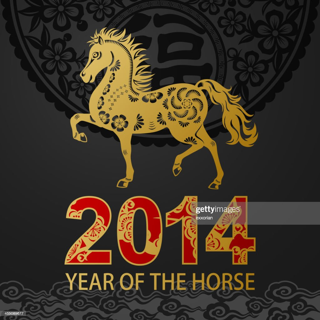 Golden Horse Art in Chinese Paper-cut Art Floral Background