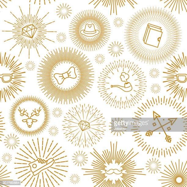 Golden Icons an Sunburst Seamless Pattern