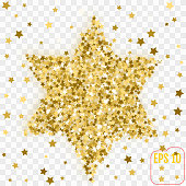 Golden image of the star of David. Gold confetti concept. Vector illustration.